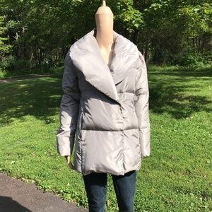 Club Monaco Silk Gray Silver Puffer Coat Jacket S